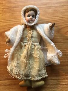 Little Old Doll With Bisque China Head Vintage Antique