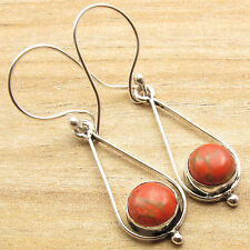 Art Earrings Modern Stunning Fashion Orange Copper Turquoise 925 Silver Overlay