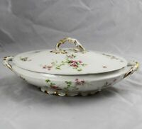 Charles Field Haviland GDA Limoges Pink Wild Roses Oval Covered Serving Bowl