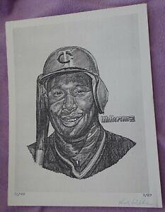 """Dick Williams artist signed/numbered b/w 8.5 x 11"""" KIRBY PUCKETT art print"""