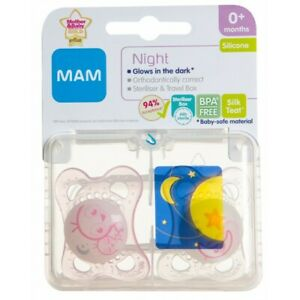 MAM NIGHT 0+M SOOTHER - GIRL PINK / WHITE - NEW