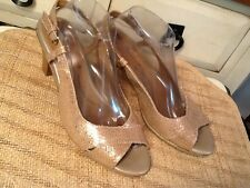 Sofft Women's  9.5 M Metallic Gold sparkle leather slingback sandals pump heels