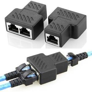 1 to 2 Port RJ45 LAN Ethernet Network Connector Splitter Extender Adapter Plug N