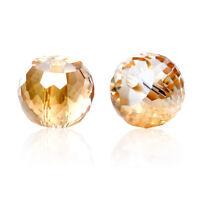 30 Glas Perlen Rund Champagner Transparent Facettiert Beads zum Basteln 8mm HHJJ