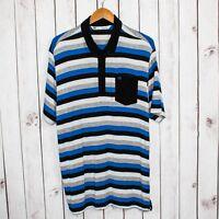 Travis Mathew Men's Short Sleeve Golf Polo shirt Black Gray Blue Stripes Viscose