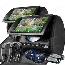"""2x 9"""" Kopfstütze Auto CD DVD Player Digital Screen LCD Monitor  mit 2 Kopfhörer"""