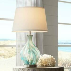 Modern Accent Table Lamp Blue Gray Art Glass Living Room Bedroom Bedside Office