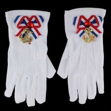 WHITE WRIST LENGTH NAVY GLOVES Red/White/Blue Anchor Sailor Adult Size     B75