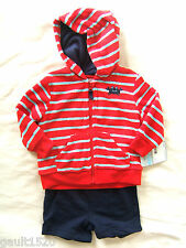 NWT Carter's Baby Boy Terry Cloth Hoodie Short Set Beach Crab Sweatshirt 6 M $38