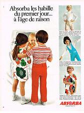PUBLICITE  1970   ABSORBA  pyjamas sous vetements