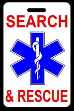 SEARCH & RESCUE Luggage/Gear Bag Tag - FREE Personalization - New