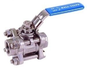 """Stainless Steel Ball Valve 316 Lockable Lever - 3 Piece  - BSP 1/4"""" to 2"""""""