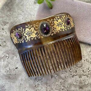 Vtg Victorian Faux Tortoise Shell Hair Comb 18k Gold Inlaid Purple Paste Stones