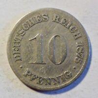 Deutsches Kaiserreich 10 Pfennig 1875 C - Kaiser Wilhelm I 1871-1888 - s/ss