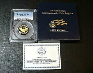2008-W PCGS PR70 DCAM Bald Eagle $5 1/4 oz Gold Proof Commemorative  COA & OGP
