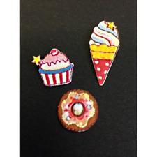 Sweet Treats Ice Cream Donut Cake Set of 3 Iron On Craft Motif Stylish Patch