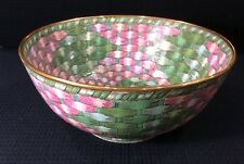 "Andrea By Sadek Basketweave Bowl 10"" Pink Green Blue Easter"