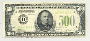 $500 Series 1934 Federal Reserve Note light green seal VF+ grade but autographed