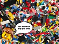 1KG LEGO Bundle - Assortment of Bricks, Parts & Pieces - 2 Minifigs in Every KG!