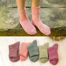 Women Wool Cashmere Thick Warm Soft Solid Casual Sports Socks Winter 5 pairs hs