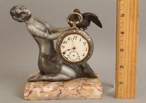 Antique 1920s Art Deco Figural Woman & Dove, Pocket Watch Holder Marble Base NR