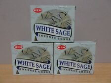 White Sage Incense Cones  3 Boxes x 10  Total 30 Cones  HEM   Free Post AU