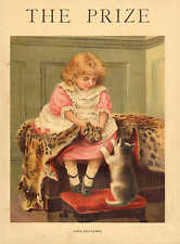 Children, Paws And Claws, Cats, Leopard Skin, Vintage 1904 Antique Art Print,