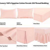 100% Egyptian Cotton Fitted Flat Frilled Valance Sheet Base Valance Blush