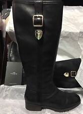 Women's tall black COACH Leather Boots Shoes 7M Easton Semi Matte Calf