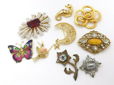 LOT of 9 Gold-Tone Multi-Colored Brooches, Seahorse, Butterfly