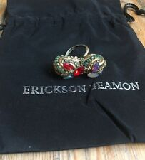 Erickson Beamon Yellow Gold Plated Ring With Multicoloured Gems