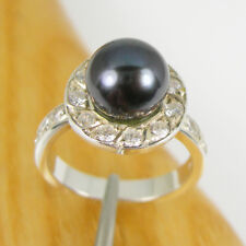 Round Black Freshwater Pearl and CZ Halo Ring Genuine 925 Sterling Silver, RHM16