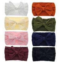 8 Pack Super Stretchy Knotted Hair Bow Nylon Wide Headbands Turban Headwraps