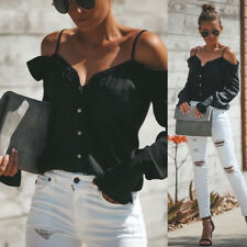 Pretty Womens Button One Off Shoulder V-Neck Long Sleeve Tops Loose Blouse Shirt