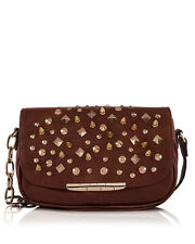 Borsa Donna a Tracolla Marrone con Borchie Punk LOOKAT Studs Crossbody Bag Women