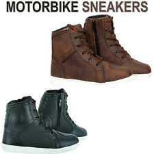 Biker Motorcycle Boots Motorbike Sneaker Shoes Touring Brown Leather Waterproof
