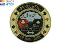 GUARD ARE YOU READY POKER CARDS COVER PROTECTOR METAL CHIP COIN PAPER WEIGHT NEW