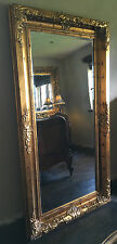 CHATEAU ANTIQUE AGED GOLD ORNATE LARGE FRENCH BEVELLED WOOD WALL MIRROR 4FT 3FT