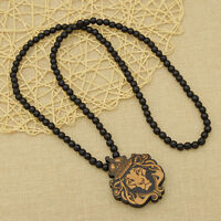 Vintage Wooden Lion Crown King Carved Pendant Necklace Beads Chain Jewelry Gift
