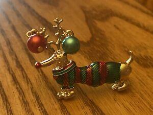 New Dachshund Brooch Super Cute Reindeer Pin Christmas Wiener Dog  Weenie