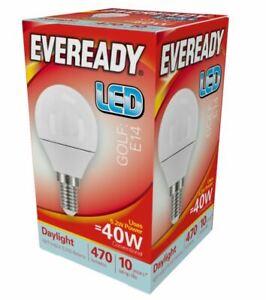 6w = 40w LED Golf Ball Small Edison Screw SES Light Bulb Daylight White Eveready