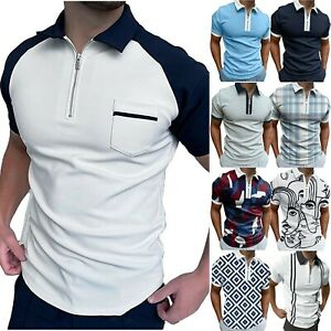 Men Polo Neck Shirt Zipper Printed T Shirts Golf Work Casual Short Sleeve Tops