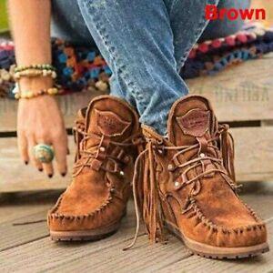Women's Ankle Suede Tassel Boots Pop Tide Lace-Up Boho Flat Cowboy Short Boots