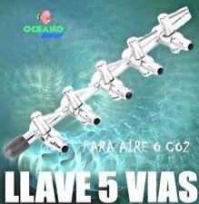 LLAVE METALICA 5 SALIDAS VIAS 5 LLAVES ACUARIO Aire Oxigenador CO2 bomba difusor