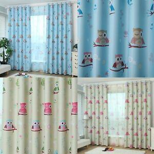 Childrens Owl Blockout Eyelet Curtains Set Girls & Boys Kids Room