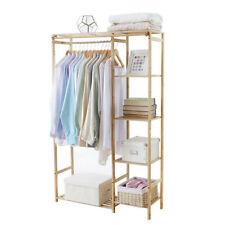 Kleiderst��nder Garderobenständer Kleiderstange mit Ablagen/Vorhang Bambus Holz