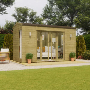 12x6 Pressure Treated Cannes Wooden Garden Summerhouse Sunroom With French Door