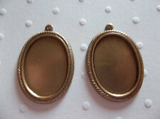 25X18mm Settings - Antiqued Brass - Rope Edge Bezels - For Cameos or Cabochons