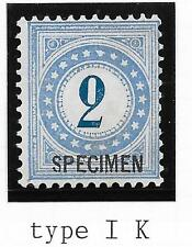 Switzerland stamps 1878 YV DUE 2 ovpt SPECIMEN  UNG  F/VF
