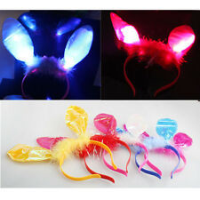Cute LED Easter Bunny Rabbit Ears HeadBand Halloween Dress Up Costume Accessory